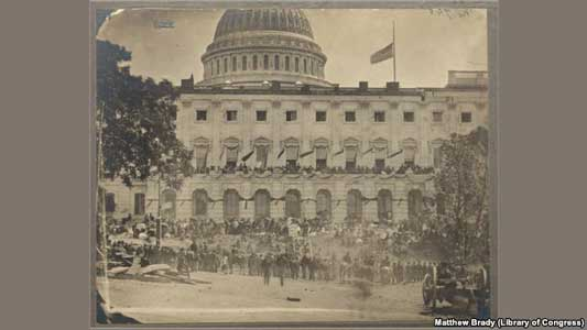The Capitol building during the grand review of the Union Army in Washington, DC