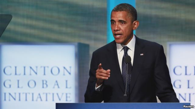 U.S. President Barack Obama speaks during the final day of the Clinton Global Initiative 2012 (CGI) in New York, September 25, 2012.