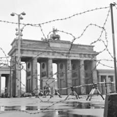 Barbed wire bars passage through the Brandenburg Gate at the East-West border in Berlin in 1961