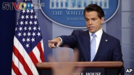 In this file photo, White House communications director Anthony Scaramucci speaks to members of the media in the Brady Press Briefing room of the White House in Washington, July 21, 2017.